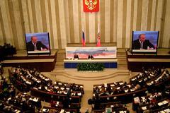 Ежегодная большая пресс-конференция Владимира Путина для российских и иностранных журналистов.